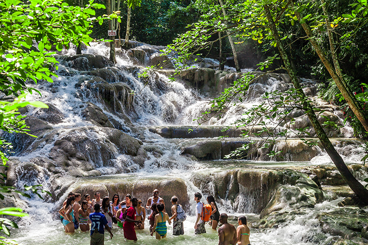 The Dunn's River Falls are waterfalls in Ocho Rios in Jamaica; Courtesy of Jan Schneckenhaus/Shutterstock