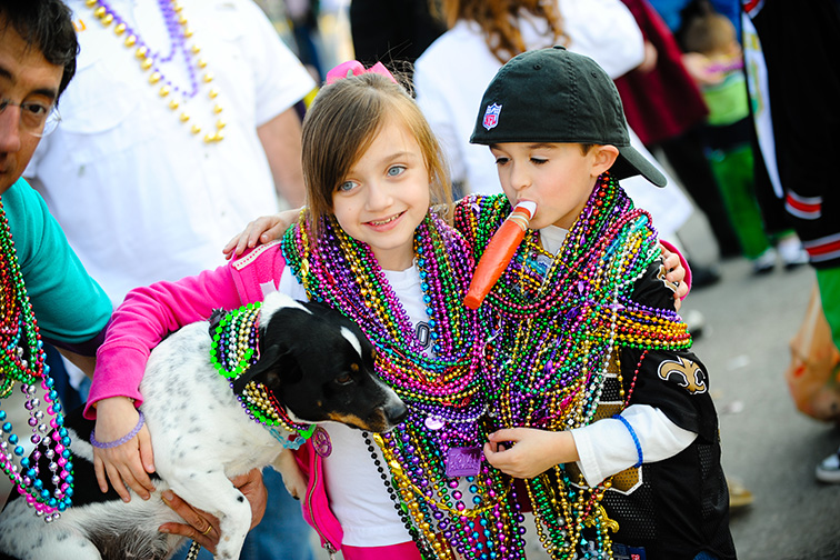 new orleans mardi gras kids with dog; Courtesy Lindsey Janies