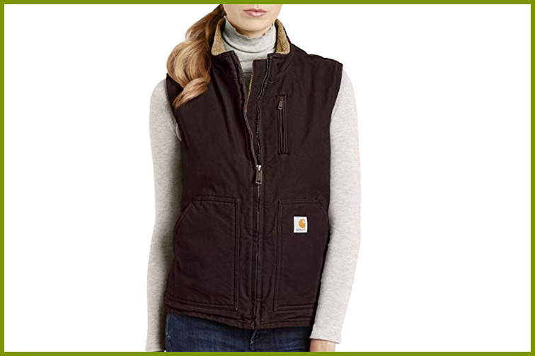 Carhartt Women's Sandstone Mock Neck Sherpa Lined Vest; Courtesy of Amazon