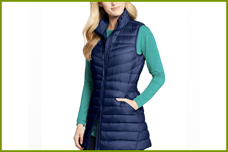 Land's End Women's Ultralight Packable Down Vest; Courtesy of Land's End