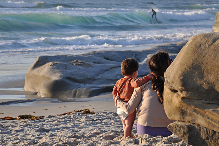 Mother and Baby on Beach in San Diego, CA
