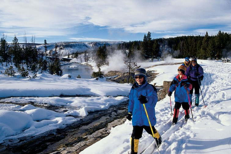 Cross-Country Skiing at Old Faithful Snow Lodge in Yellowstone National Park, CA