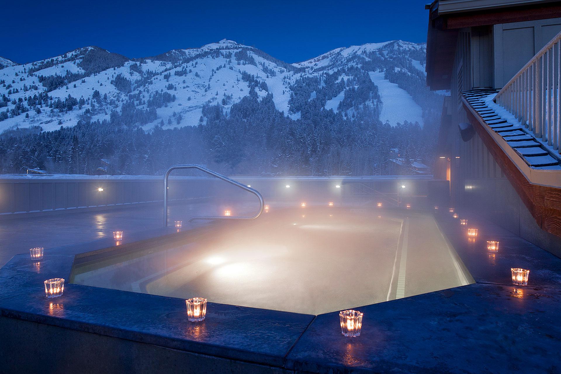 Hot Tub at Night at Teton Mountain Lodge & Spa; Courtesy of Teton Mountain Lodge & Spa