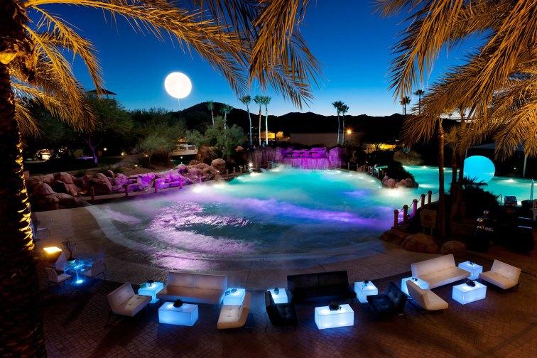 Water Park at Night at Arizona Grand Resort & Spa in Phoenix; Courtesy of Arizona Grand Resort & Spa
