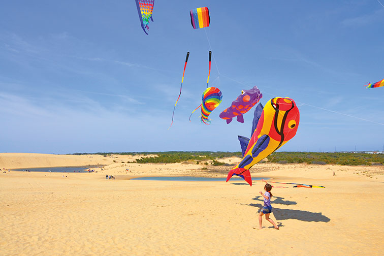 Young Girl Flying a Kite in Outer Banks, North Carolina
