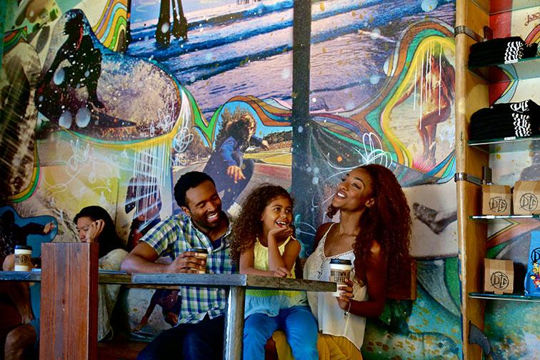 Family at Coffee Shop in Santa Monica, California