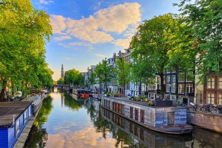 Houseboats at the UNESCO World Heritage Prinsengracht Canal