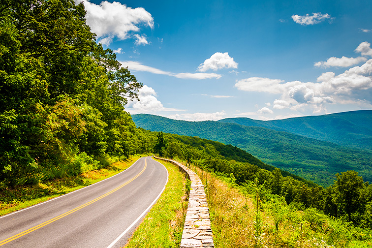 Skyline Drive and view of the Blue Ridge Mountains, in Shenandoah National Park, Virginia; Courtesy of ESB Professional/Shutterstock