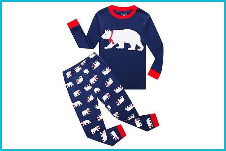 Family Feeling Christmas BearKids Christmas Pajamas Set; Courtesy of Amazon