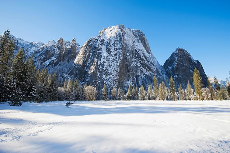 yosemite in winter; Courtesy of somchaij/Shutterstock