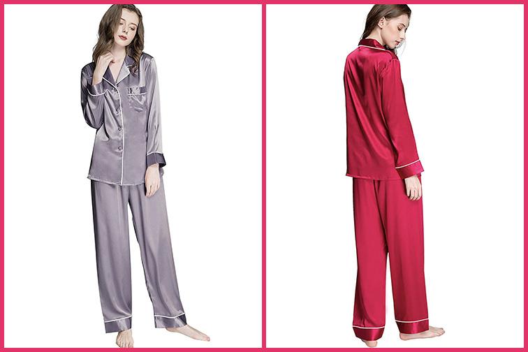 Women's Silk Satin Pajamas Set – Button Down Sleepwear Loungewear; Courtesy of Amazon
