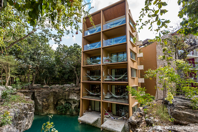 Hotel Xcaret room balconies and pool; TripAdvisor Expert Photo