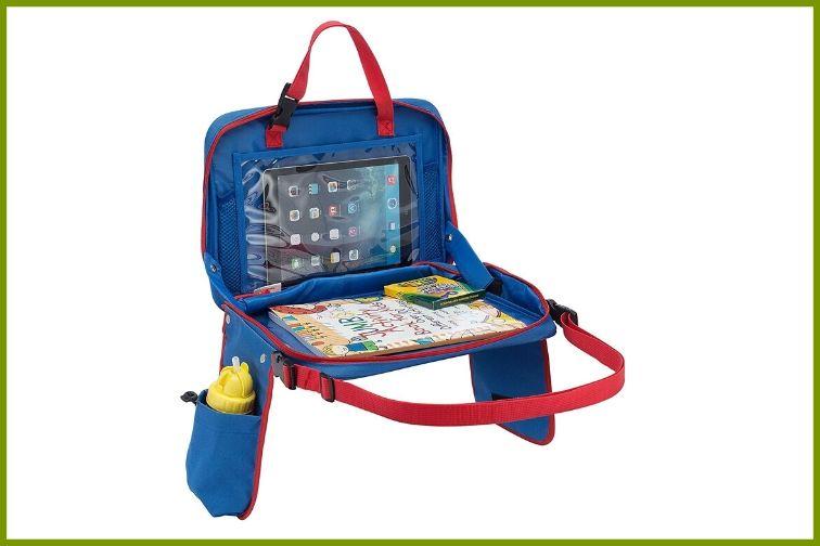 Blue kids car seat travel tray