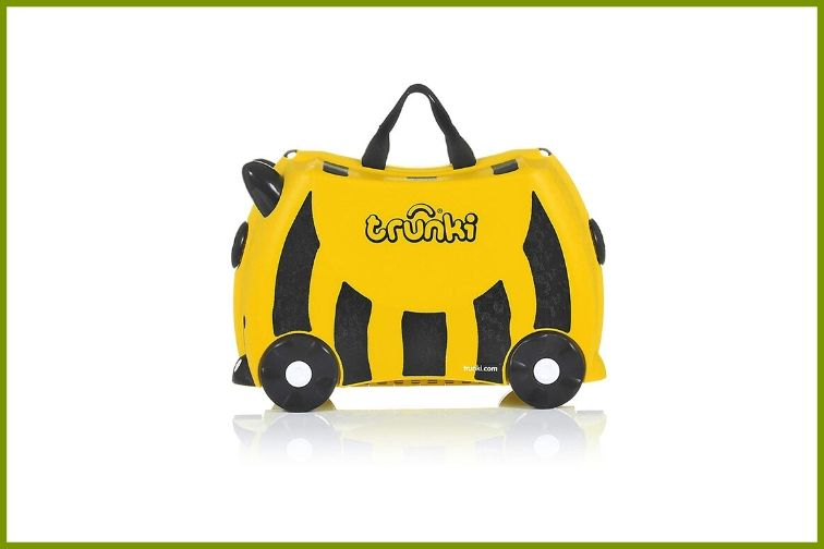 Trunki Original Ride Suitcase, black and yellow suitcase with wheels