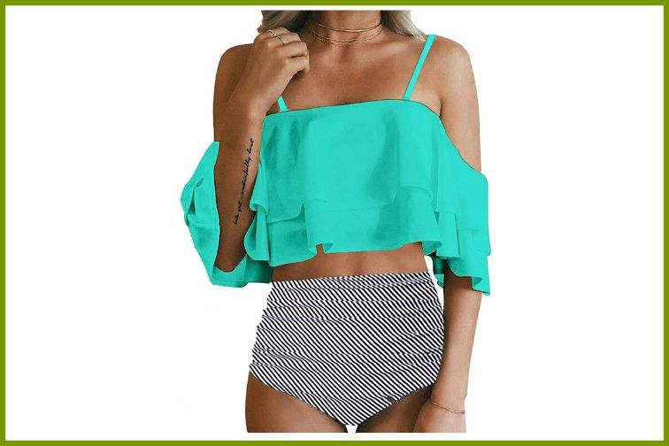Tempt Me Two-Piece With Off-Shoulder Ruffled Crop Bikini Top