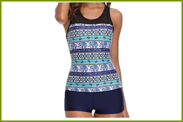 Yonique Racerback Tankini Swimsuit with shorts