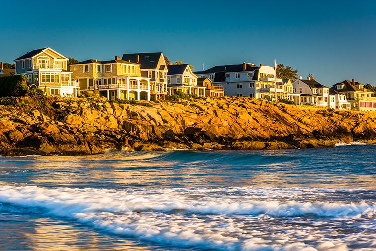 houses on cliffs in York, Maine; Courtesy Jon Bilous/Shutterstock