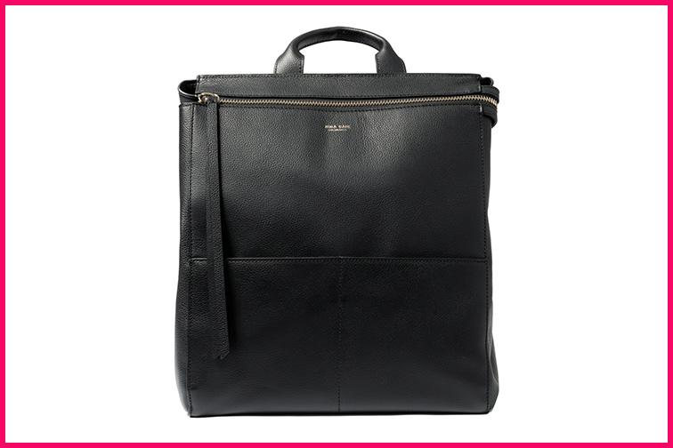 Mina Baie Harper Backpack – Leather Diaper Bag; Courtesy Mina Baie