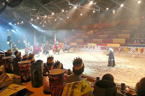 Families watch the Medieval Times Dinner Show