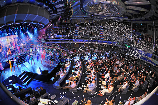 Guests enjoying a show aboard Carnival Splendor.