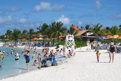 Beach of Disney's Castaway Cay island in the Bahamas.