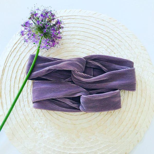 Lila plisse haarband