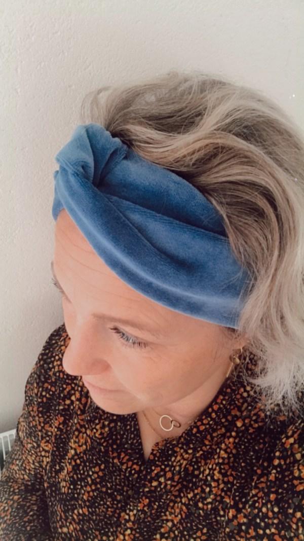 Haarband jeansblauw velours