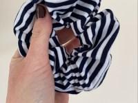 Scrunchie: blauw-wit streep