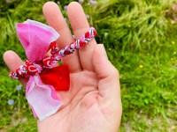 Bandana armband rood wit roze