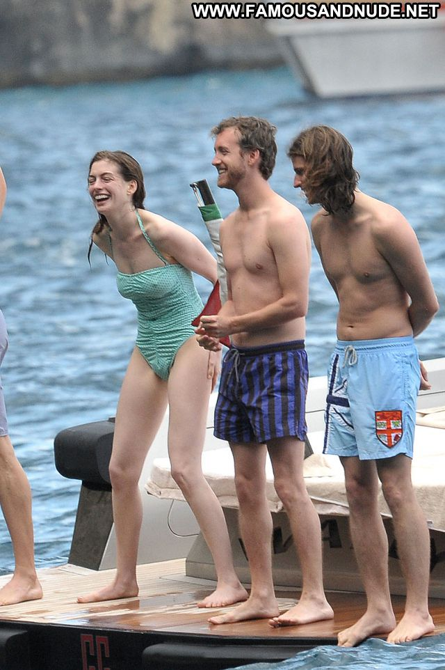 Anne Hathaway Swimsuit Yacht See Through Brunette Posing Hot