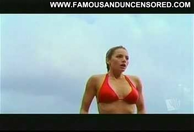 Erica Durance Smallville Lake Bikini Jumping Wet Posing Hot Beautiful
