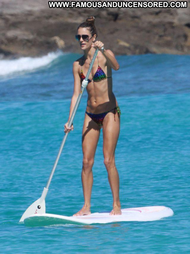 Alessandra Ambrosio No Source Beach Bikini Brunette Famous
