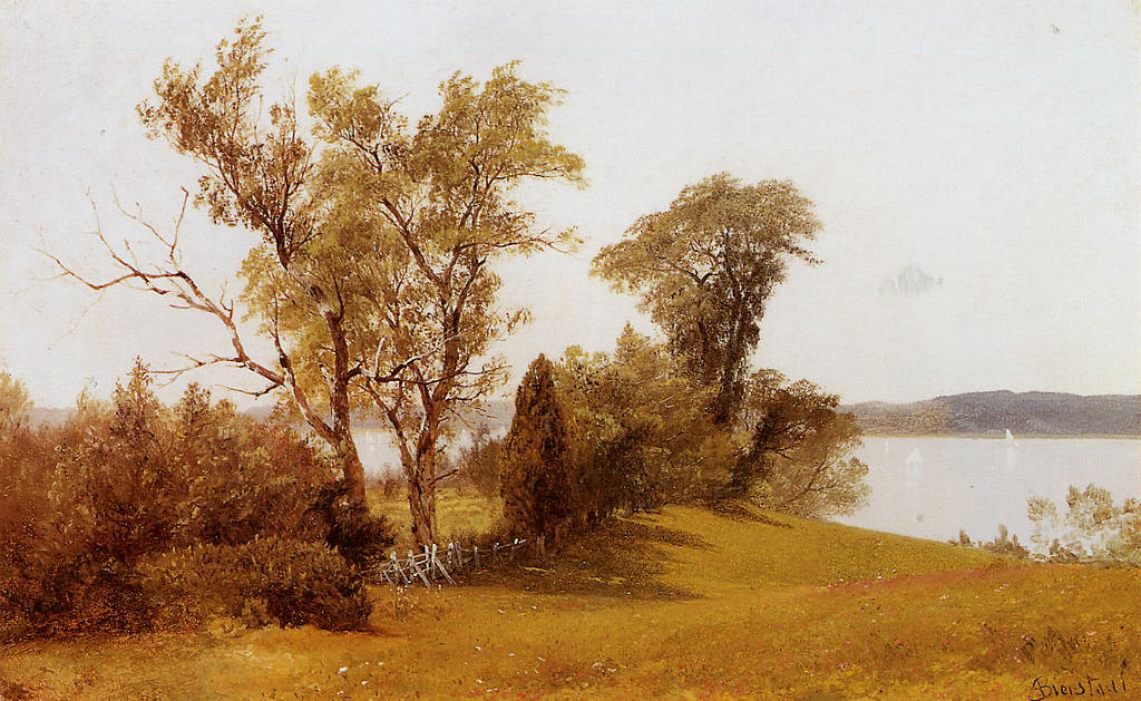 Sailboats On The Hudson At Irvington by Albert Bierstad