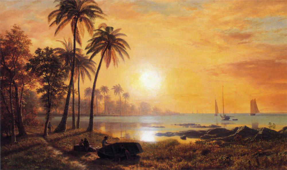 Tropical Landscape With Fishing Boats In Bay by Albert Bierstad