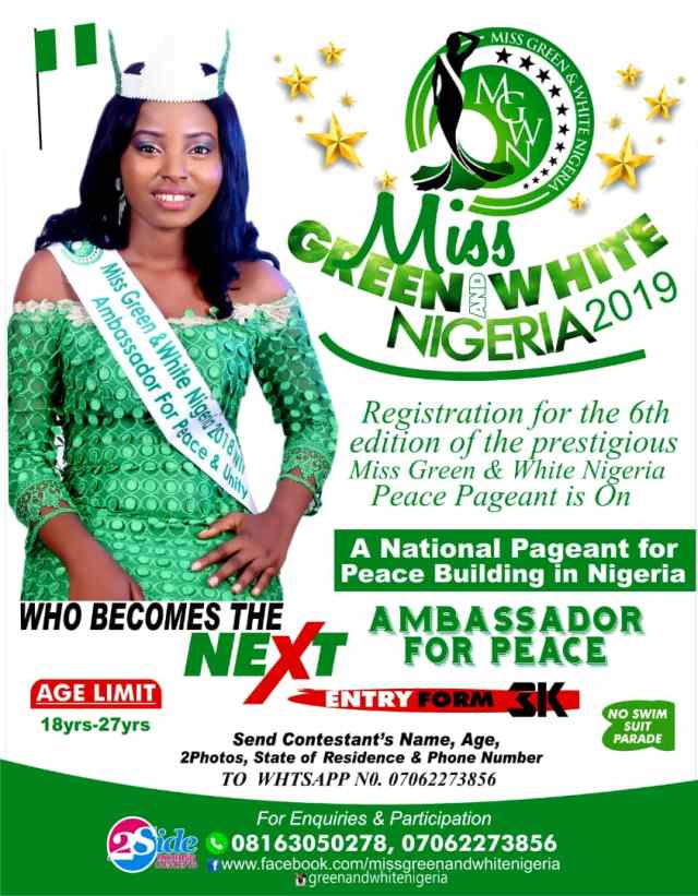 Miss Green & White Nigeria 2019 Pageant Holds October, Forms Now