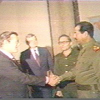 Donald Rumsfeld Shakes Hands With Saddam Hussein