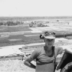 Capt. Joe Gibbs III, USMC, on Hill 41, overlooking the flatlands east of Hill 41.