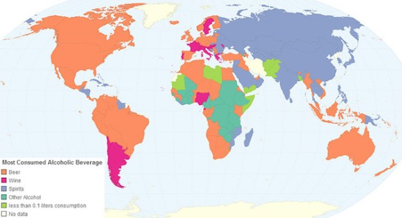 favorite alcohol map by country
