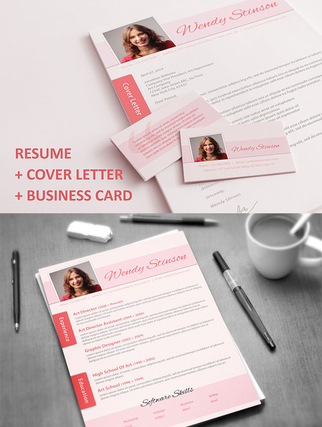 Resume with Matching Cover Letter   Business Card     Fancy Resumes resume cover letter business card A4