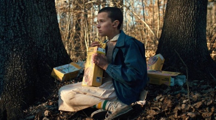 11 eating eggos in the woods