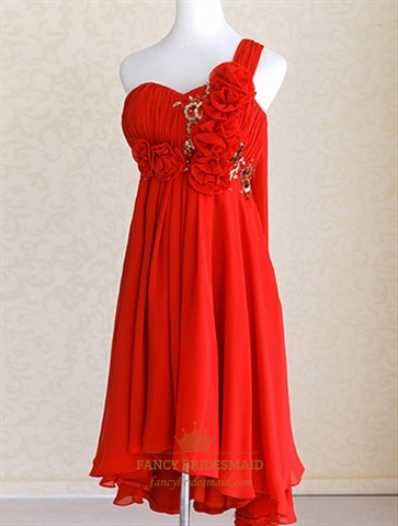 One Shoulder Chiffon Gown With Floral Appliques Red