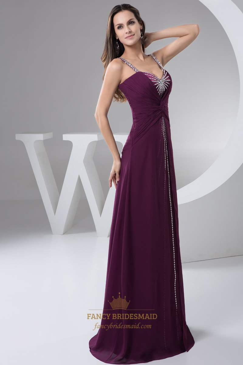 Grape Chiffon Spaghetti Strap Prom Dress Beaded Neckline