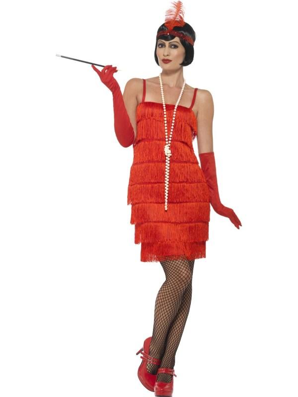 Adult Red Flapper Costume - 45499 - Fancy Dress Ball