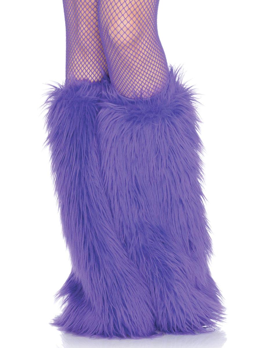 Purple Furry Leg Warmers 3934P Fancy Dress Ball