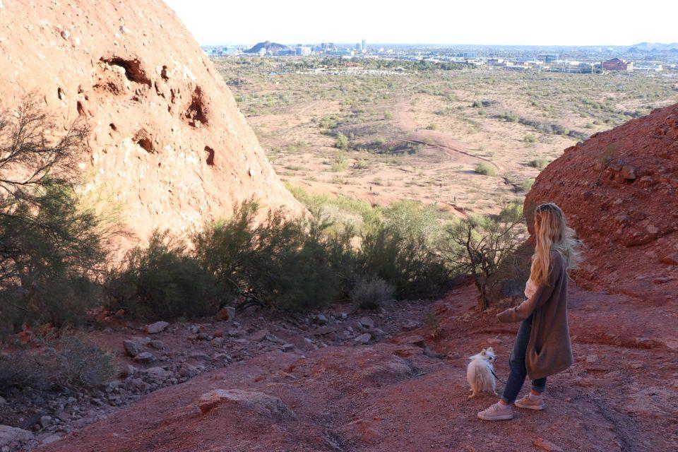 Girl and dog at Papago park