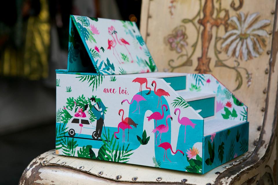 caja de fotos decorada con flamencos