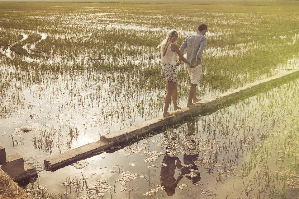 pareja caminando entre arrozales valencia