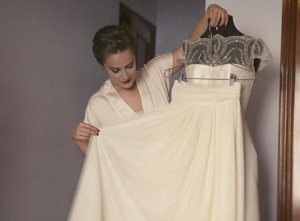 novia con su vestido