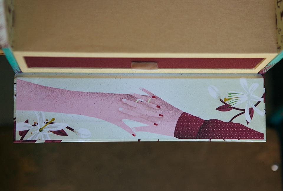 detalle-de-manos-y-flores-recuerdo-de-la-boda-en-ilustraciones-de-cajas-de-boda