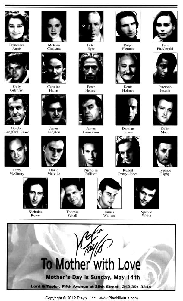 Hamlet 1995, Broadway, Playbill